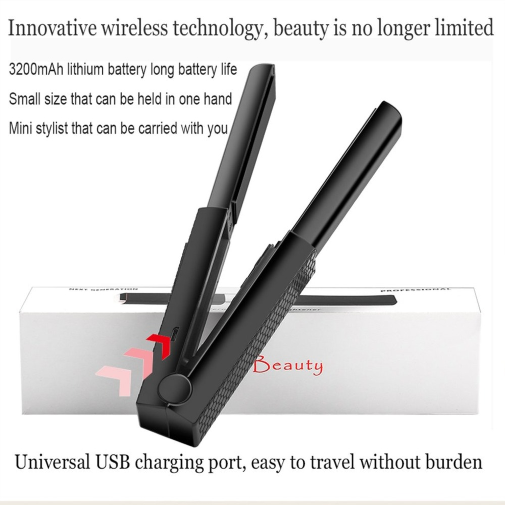 Cordless Hair Straightener and Curling Iron Rechargeable Ceramic Flat Iron with USB Charging