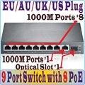 Free & Transporte 9 portas 8 switch poe IEEE802.3af no terno para todo o tipo de câmera poe PoE/AP, Switches de rede Plug & Play 1 * porta SFP