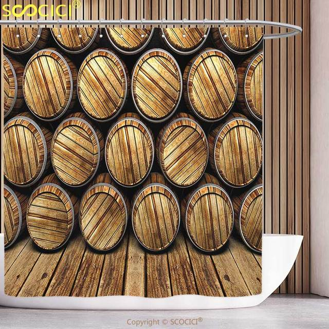 Polyester Shower Curtain Man Cave Decor Wall Of Wooden Seem Barrels Cellar Storage Winery Rum Container Stack Broen Light Brown