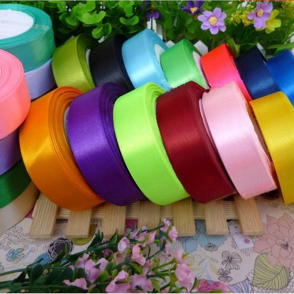 25YD 6 15 25mm Satin Ribbons Apparel Sewing Wedding Party Decor Ribbon Craft DIY
