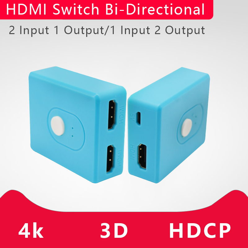 2 Port AB Switch 4Kx2K HDMI Bi-directional 2x1 Switcher 1x2 Splitter 3D 1.4v 1 In 2 Out Bi-Directional Switch