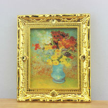 Dollhouse Miniature 1:12 Flower Painting Picture Golden Frame for Barbie Blythe scene