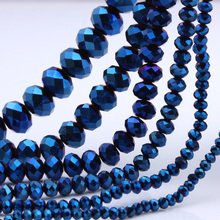 OlingArt 3/4/6/8/10mm Round Glass Beads Rondelle Austria faceted crystal plating blue color Loose bead DIY Jewelry Making