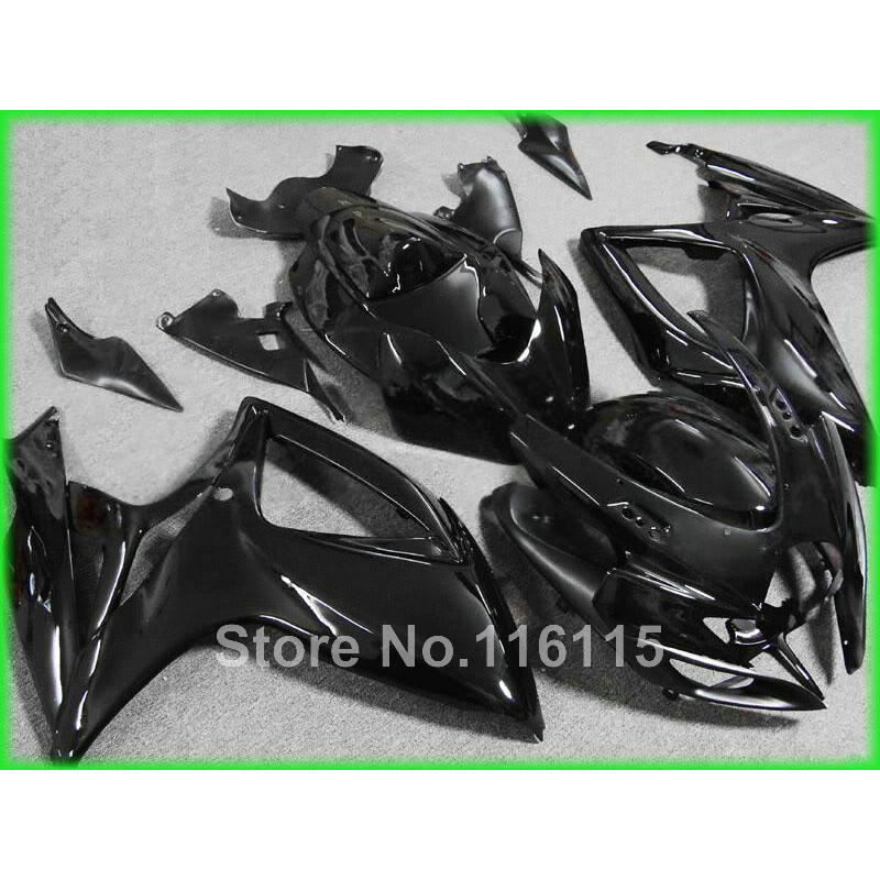 Injection mold  fairing kit for SUZUKI GSXR 600 750 K6 K7 2006 2007 GSXR600 GSXR750 06 07 all glossy black fairings A628 injection mold for pp automobile bumper