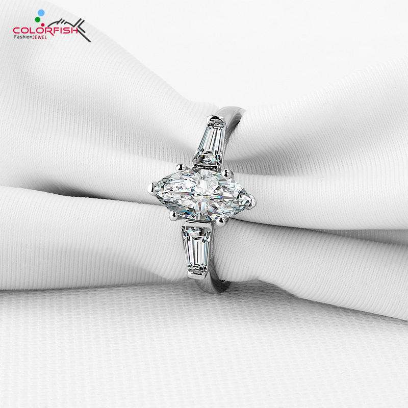 COLORFISH Fashion Rings For Women Engagement Wedding Center 1 25 ct Marquise 925 Sterling Silver Three
