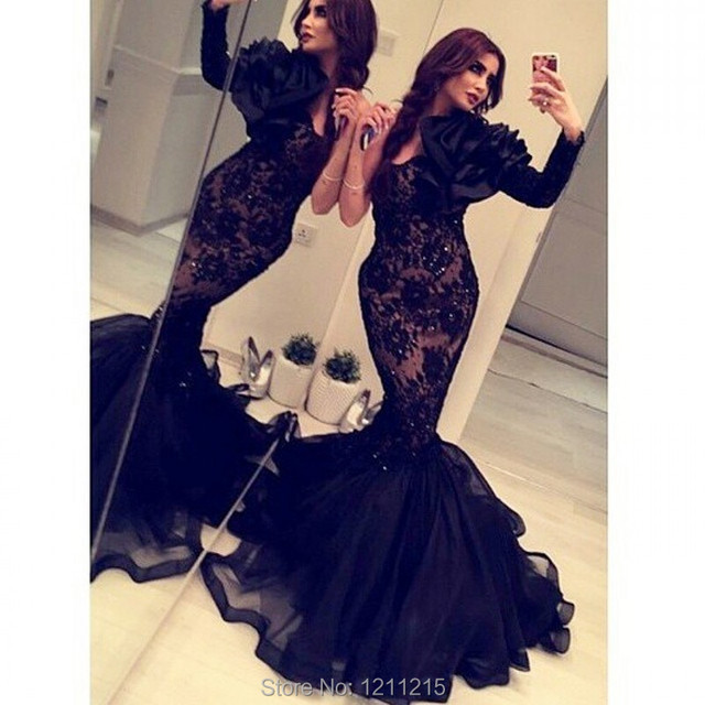 Sexy Arabic India Party Mermaid Dresses Long Sleeves Black Lace