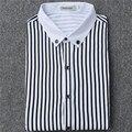Nueva Moda 2017 Camisa de Los Hombres Camisa de Vestir Diseñador de Rayas de Alta Calidad de Negocios Masculino Ocasional Camisa Más del Tamaño M ~ 4XL camisa masculina
