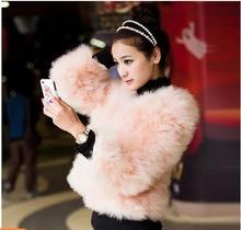 real 2014 ostracods wool o-neck wrist-length sleeve fur women's design short outerwear