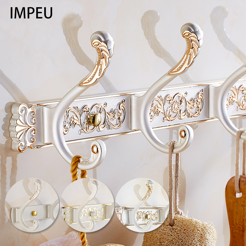Hook Rail, Coat Rack With 5 Flared Tri Hooks, Multi Size, Solid Metal, Luxury Silver And Gold Edge, Boutique Hotel Collection
