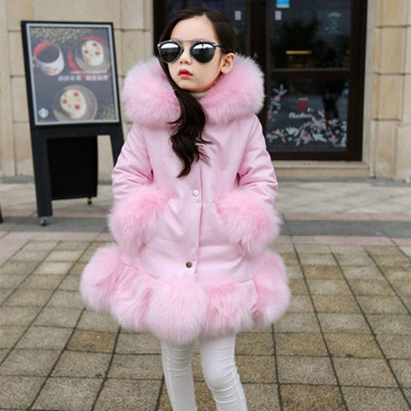 Girl Big Fur Collar Hooded Jacket Kids Plus Velvet Faux Fur Coats Girls Long Winter Warm Windproof Jackets girl