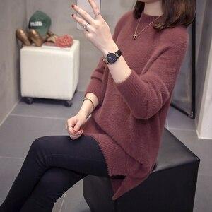 Image 3 - Plus rozmiar kaszmirowy sweter kobiet 2020 jesienno zimowa modne damskie dzianiny topy Split moherowe swetry ciepłe swetry Oversize