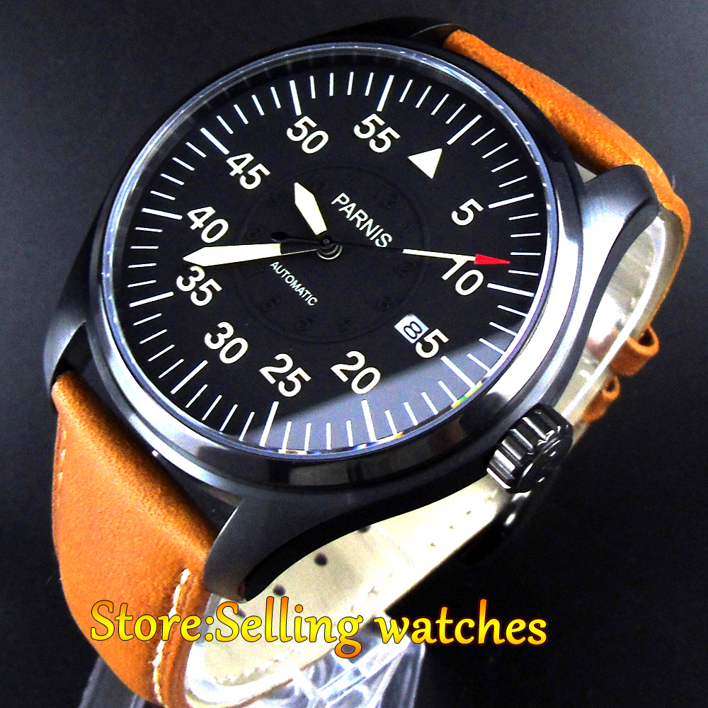 44mm parnis black dial sapphire glass PVD case miyota automatic mens watch цена и фото