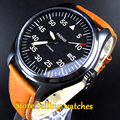 44mm parnis black dial sapphire glass PVD case miyota automatic mens watch