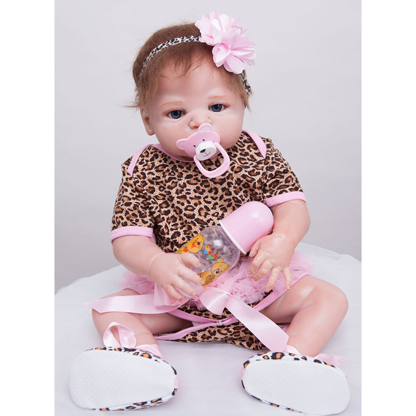 55cm Full Silicone Reborn Baby Doll Toy Real Touch 22inch Newborn Princess Toddler Babies Alive Doll With Pacifier Girl Bonecas economic newborn baby model flexible full term baby doll