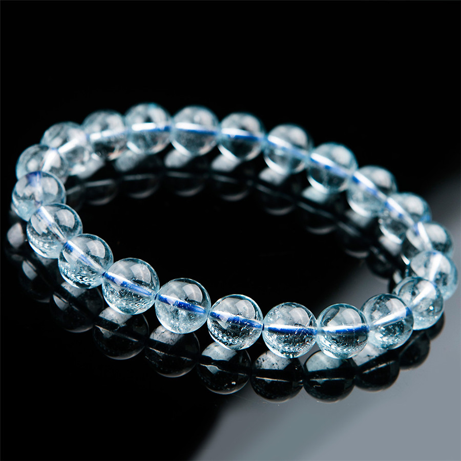 9mm Genuine Natural Blue Crystal Bracelets For Women Clear Round Beads Jewelry Stretch Charm Bracelet Femme 9mm genuine sugilite bracelets for female women natural stone round beads crystal jewelry bracelet