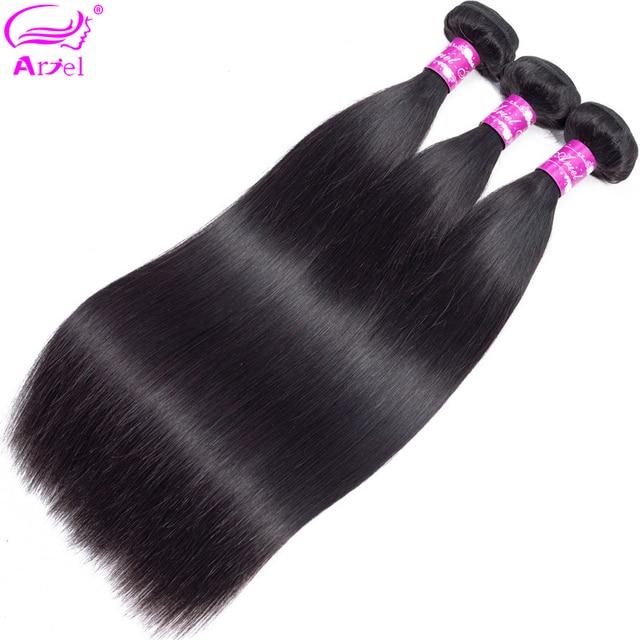 Paquetes de pelo recto de 30 pulgadas paquetes de cabello humano cabello indio armadura paquetes 32 pulgadas Color Natural no Remy extensión de cabello ariel