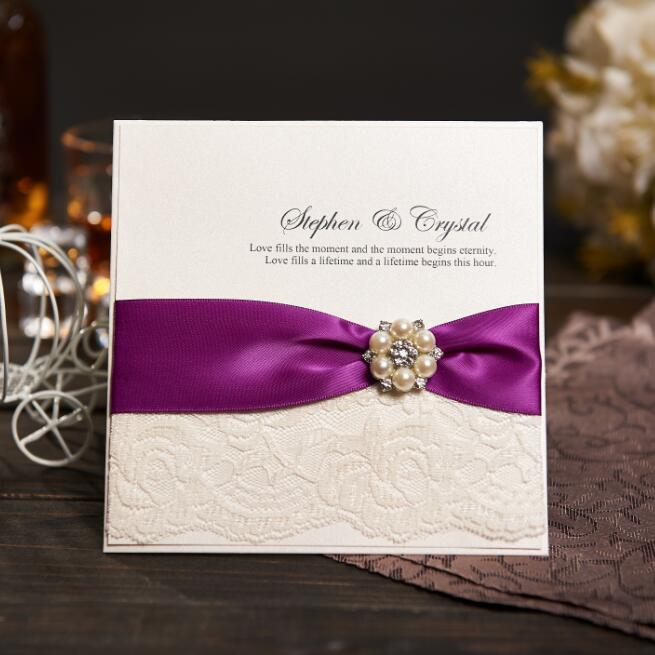 Vintage Lace Wedding Invitations Card With Purple Ribbon Custom Birthday Party Rsvp And Envelope Nk605 In Cards From Home