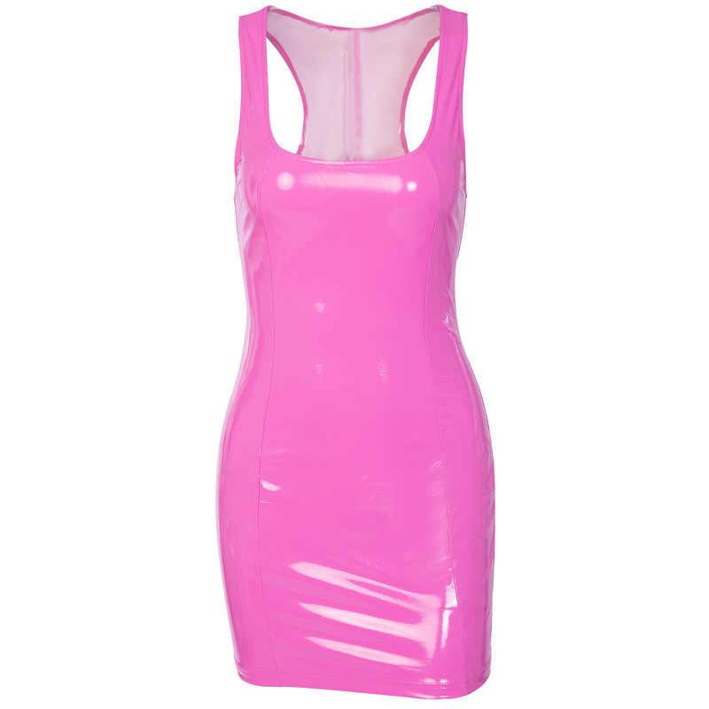 PU Leather Bodycon Dress Women 2019 Summer Strap Sleeveless Low Cut Zipper Skinny Sheath Mini Dress Party Club Dresses