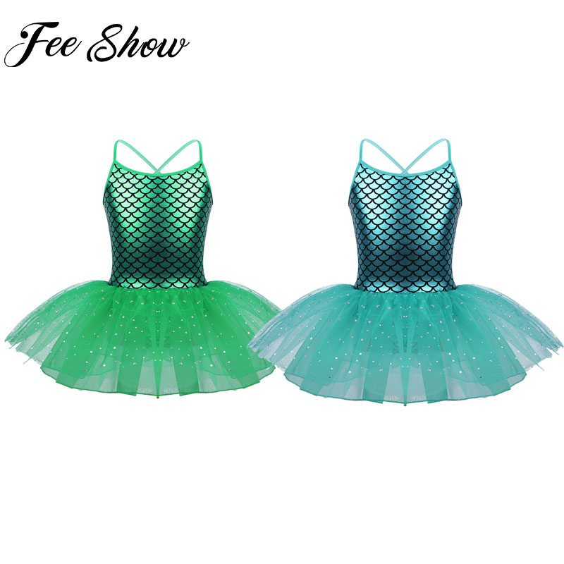 Kids Girls Glitter Sequined Green Mermaid Costumes Halloween Fancy Dress Up Party Little Mermaid Ariel Princess Tutu Dance Dress partes del cable coaxial