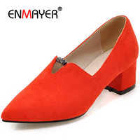 ENMAYDA Square Med Heels Flock Pointed Toe Slip On Black Red Shoes New Fashion Spring Autumn