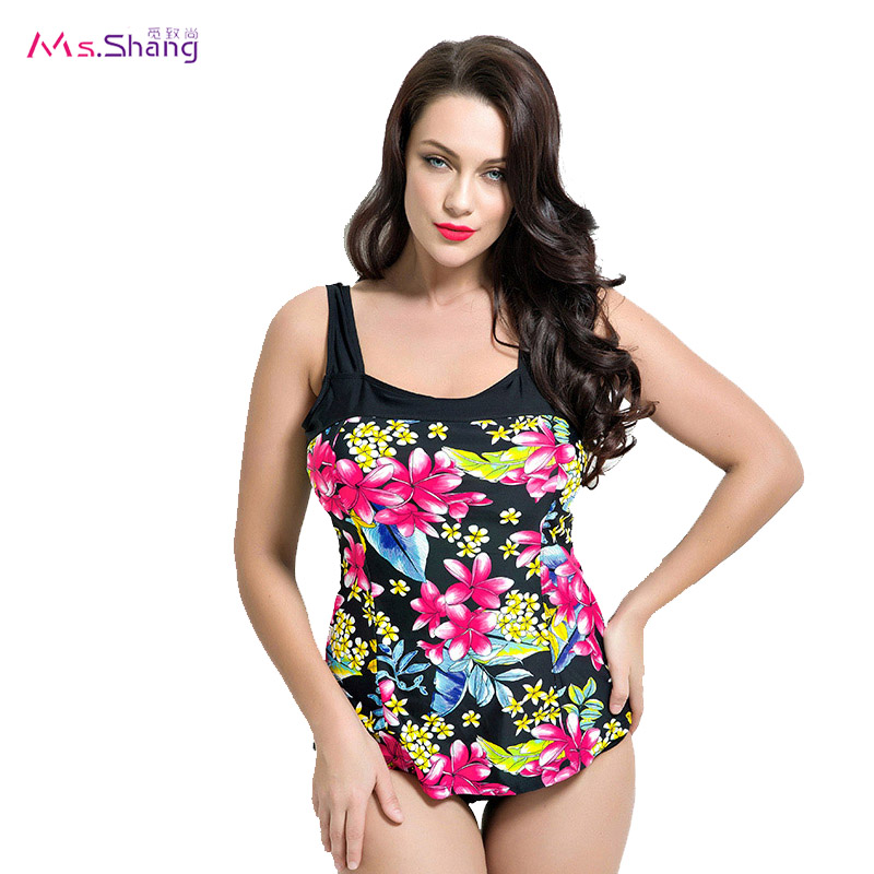 2017 Swimwear Women Print One Piece Swimsuit Backless Padded Swimwear Plus Size May Beach Bikinis Conservative Bathing Suit 4XL
