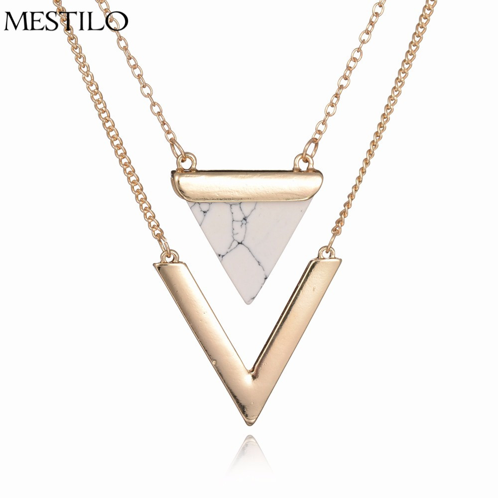 Mestilo Marble Necklaces White Black Faux Stone 2 Layer