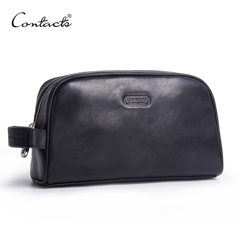 CONTACT'S men makeup bag genuine leather large waterproof cosmetic travel bag women toiletry organizer big wash bag zipper case цена 2017