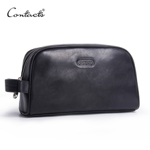 CONTACTS men makeup bag genuine leather large waterproof cosmetic travel bag women toiletry organizer big wash bag zipper case