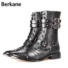 Готические ботинки в стиле панк; мужские теплые зимние ботинки из искусственной кожи с острым носком; модная черная повседневная обувь на меху; мужские мотоциклетные ботинки; botas hombre; Лидер продаж