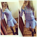 High Quality New Women Tracksuits Sexy Plaid Short Knitted Sweater Shirt and Pleated Skirt 2 Piece Sets