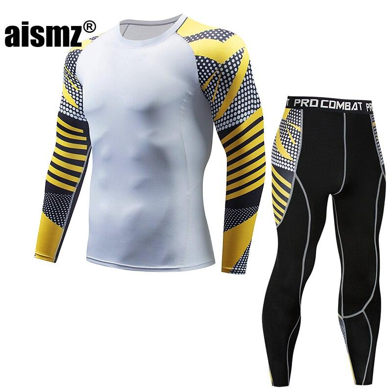 Aismz Muscle Men 3D Prints Compression Tracksuit Men Fashion T-shirt+pants Moletom Masculino MMA Rashguard Fitness Sets
