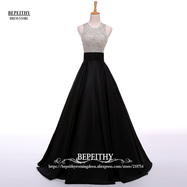 Real Image A Line Long Evening Dress Beadings Crystal Bodice Open Back Party Elegant Vestido De Festa New Prom Gowns