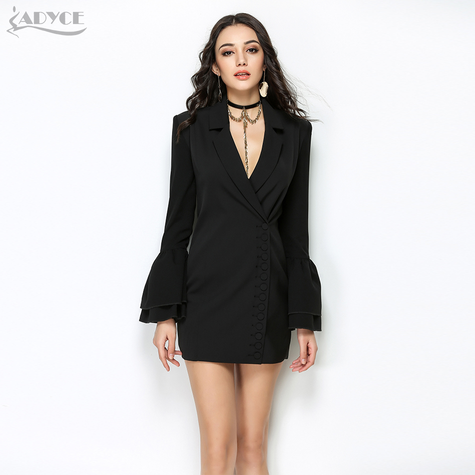 Adyce 2019 New Women Slim Black Trench Coat White Sexy V-Neck Single Breasted Petal Sleeve Long Style Women Out Wear Club Coats