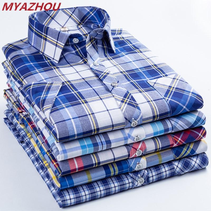 2019 Summer Fashion Cotton Plaid Shirt Chemise Homme Men's Business Slim Casual Shirt Large Size Men's Brand Short-sleeved Shirt