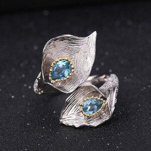 Image 5 - GEMS בלט 3.02Ct טבעי שוויצרי טופז הכחולה 925 סטרלינג כסף בעבודת יד Callalily עלה טבעת עגילי תכשיטי סטים לנשים