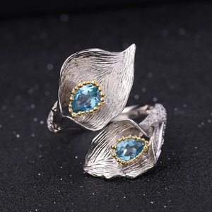 Image 5 - GEMS BALLET 3.02Ct Natural Swiss Blue Topaz 925 Sterling Silver Handmade Callalily Leaf Ring Earrings Jewelry Sets For Women
