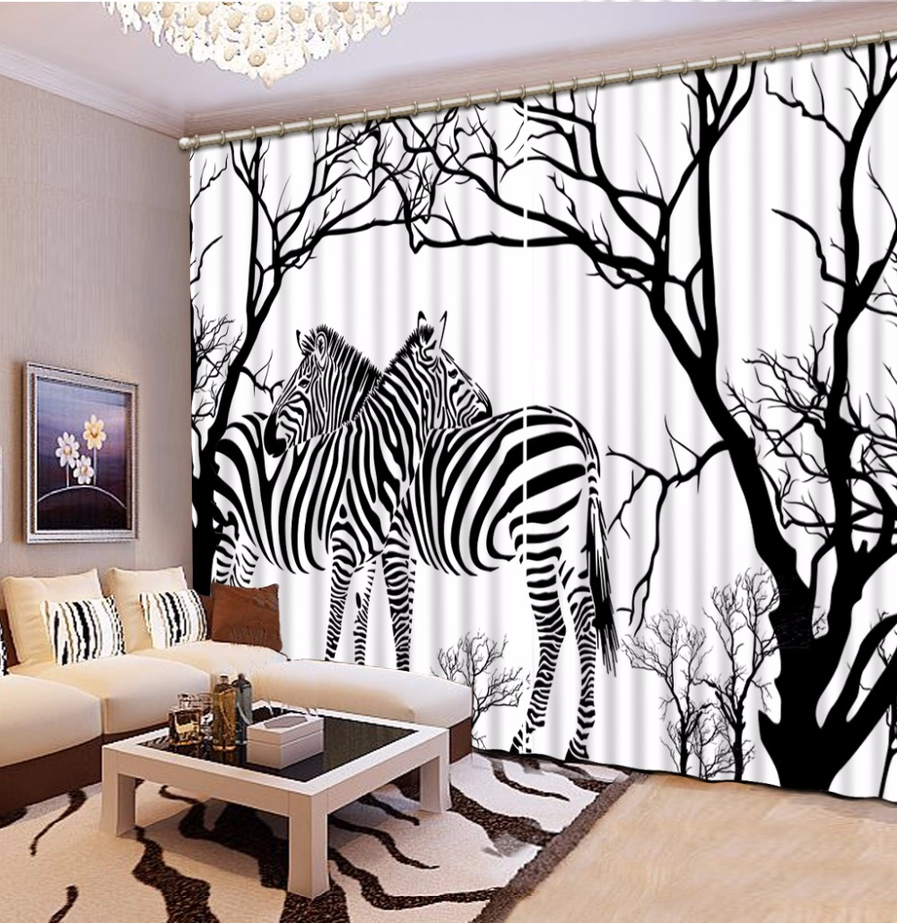 Modern Black and white 3D Curtains animal zebra Children Curtains For Living Room Bedroom Blackout Kids Room Curtains