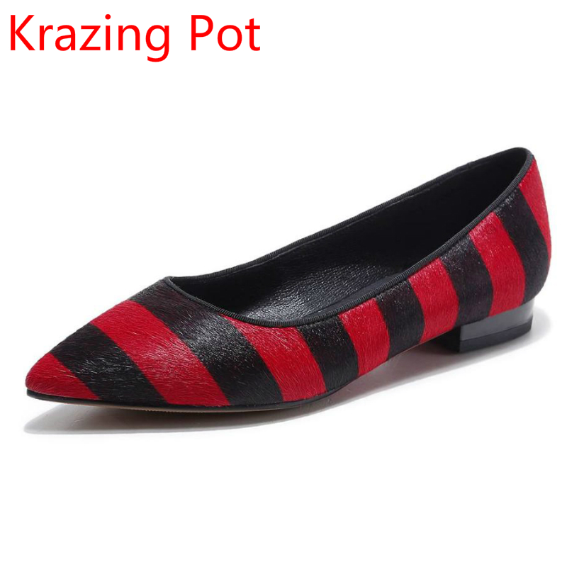 2017 Handmade Mixed Colors Horsehair Slip on Stripe Patterns Women Brand Shoe Pointed Toe Low Heel Shallow Women Lazy Pumps L13