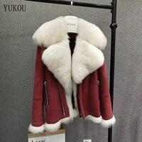 Женское пальто Двусторонняя меховая овчина и шерстяная верхняя одежда меховой воротник из лисьего меха 2018 зимняя модная шерсть овец мерино