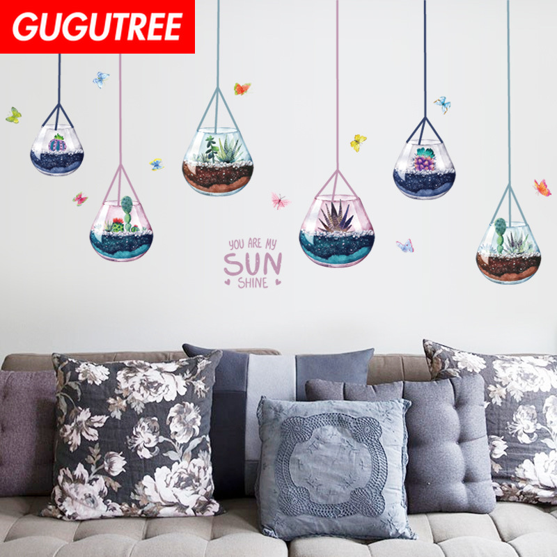 Decorate Home Bonsai Buttlefly Cartoon Art Wall Sticker Decoration Decals Mural Painting Removable Decor Wallpaper LF-2260