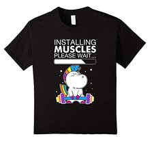 Band T Shirts  S Homme Unicorn Installing Muscles Please Wait Fitness Graphic MenS O-Neck Short-Sleeve Tees