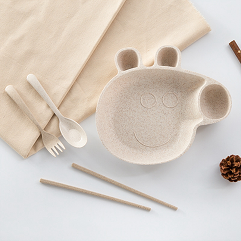 New Natural Wheat Straw Peppa Pig Baby Dinner Table Set Pure Lovely Lunch Tray Dishes Kids Bowl Dinnerware Childrens Plas