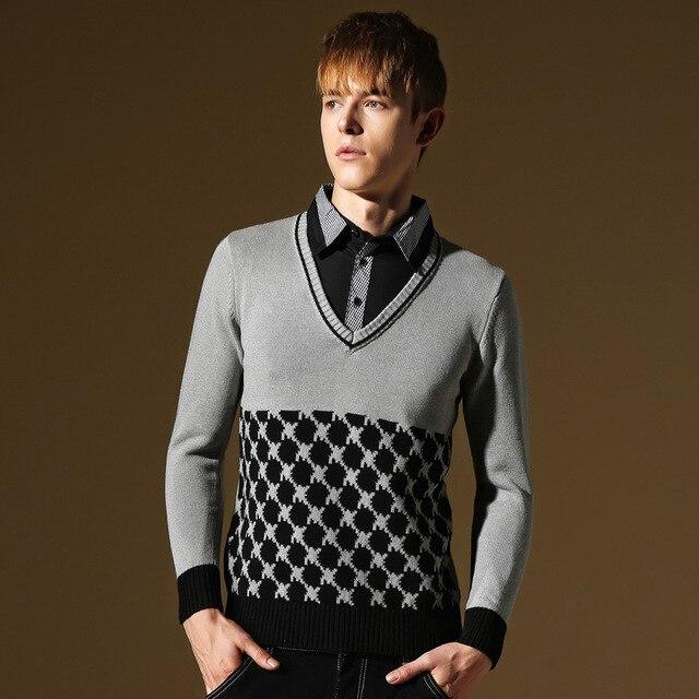 New Jacquard Knitting Patterns Mens Sweater 2015 Autumn Winter