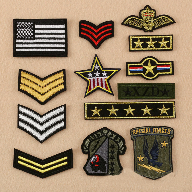 10 pcs Embroidery <font><b>gold</b></font> stripes badges & star <font><b>patches</b></font> & <font><b>flag</b></font> <font><b>patch</b></font> appliqued iron on for clothing accessories DIY jeans Stickers