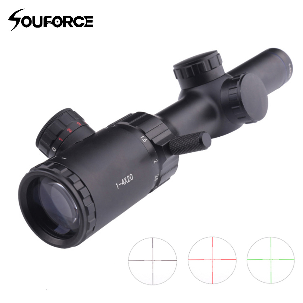 1-4x20 Hunting Rifle Scope Green Red Black Illuminated Crosshair Riflescope Reticle Caza Rifle scope Air Rifle Optical Sight mosin nagant pu 4x20 steel riflescope with etched glass reticle crosshair svt 40 hunting rifle scope