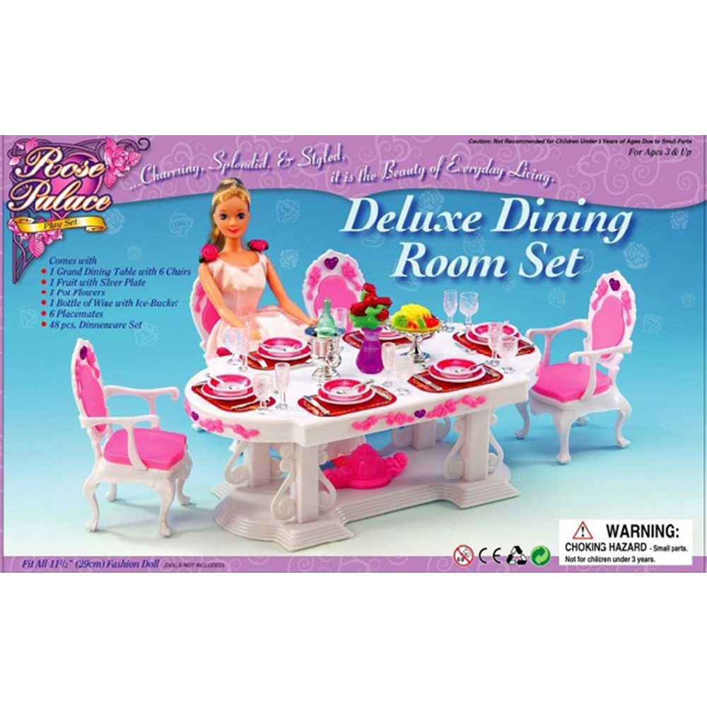 Mesmerizing Barbie Dining Room Set Photos Best idea home  : Miniature Furniture Luxury White Dining Table for 8 Person and for Barbie Doll House Pretend Play from extrasoft.us size 1000 x 1000 jpeg 499kB