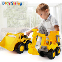 Baby Shining Car Toy Engineering Car Excavator Model Tractor Toy Dump Truck Model Classic Toy Vehicles Mini Gift for Boys