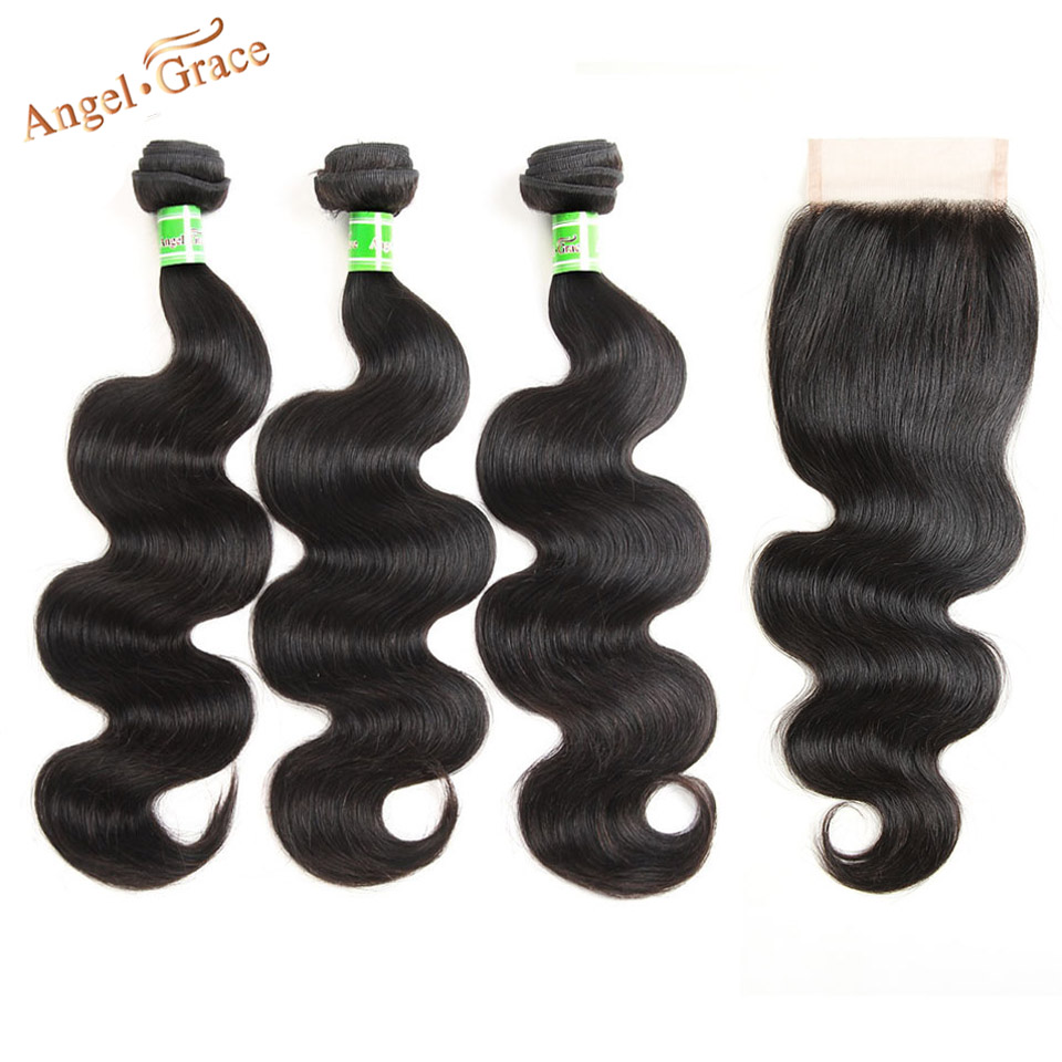 Angel Grace Hair Peruvian Body Wave 3 Bundles With Closure Remy Hair Bundles With Closure 100
