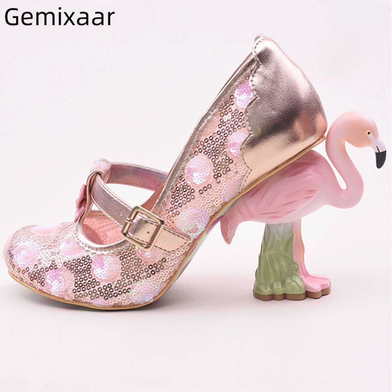 Flamingo Heel Pumps Shoes Woman Round Toe Narrow Buckle Shoes Sweet Pink Color Decor Bling Lace High Strange Heel Pumps Women