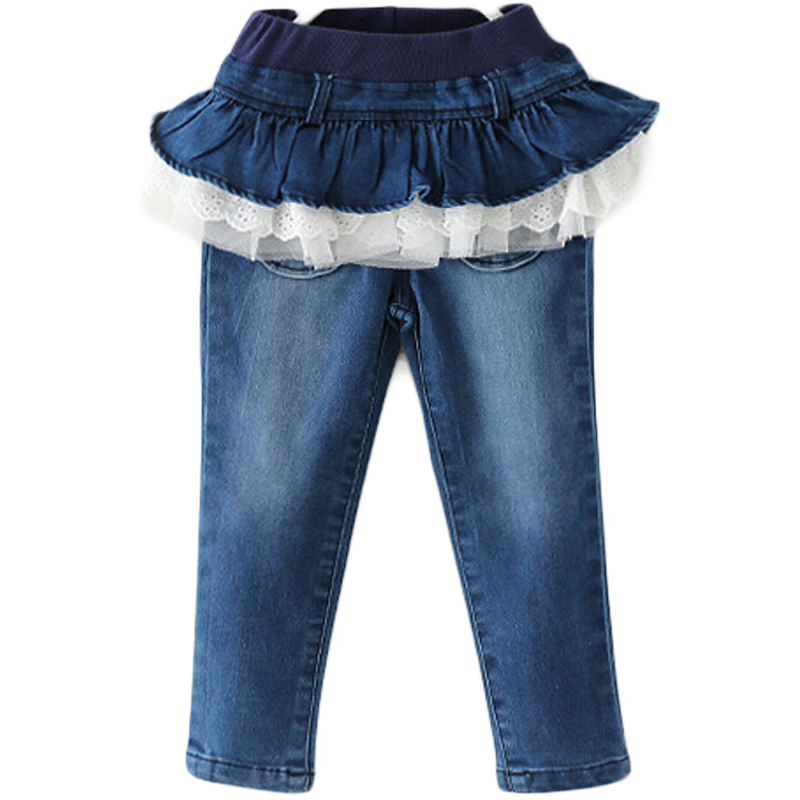 4e00973fe Low Waist Jeans For Girls Casual Culottes With Lace Light Wash ...